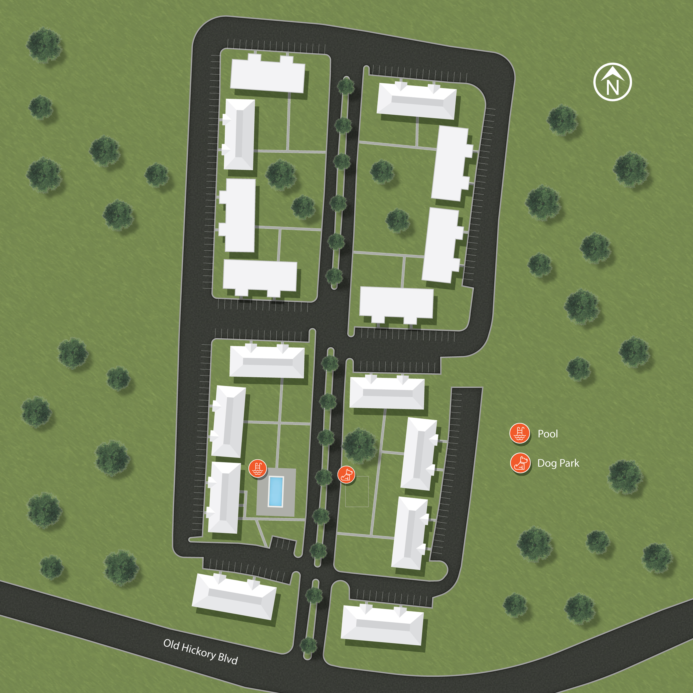 The Hermitage Apartments site map
